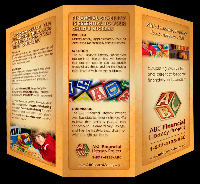 abc financial literacy project trifold brochure flyer trifold