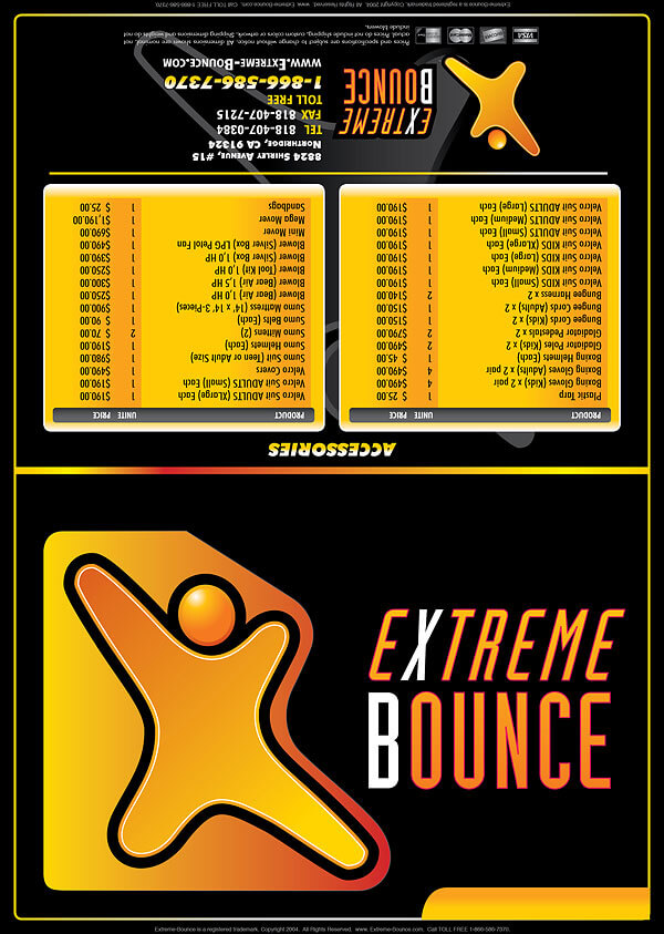 extreme bounce price list flyer design and printing flyer trifold