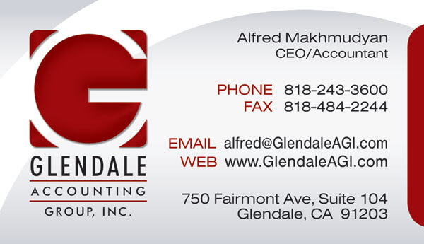 Glendale accounting group business card design business card glendale accounting group business card design reheart Images